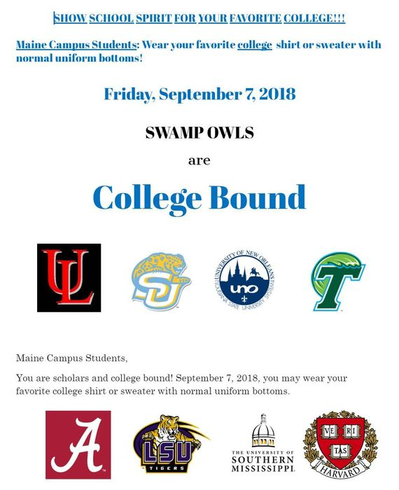 Maine Campus College Shirt Day - Friday, September 7, 2018