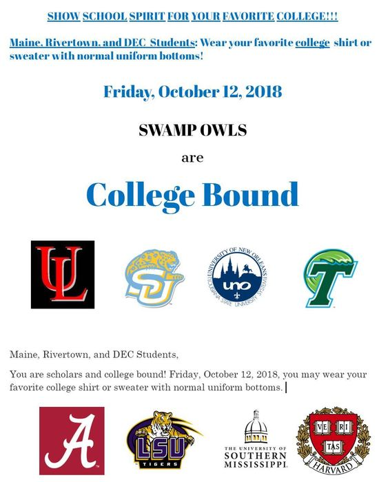 Maine, Rivertown, & DEC College Shirt Day 10/10/2018