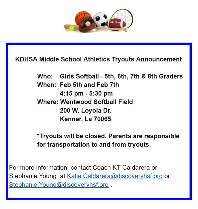 MS Girls Softball Tryouts 2019