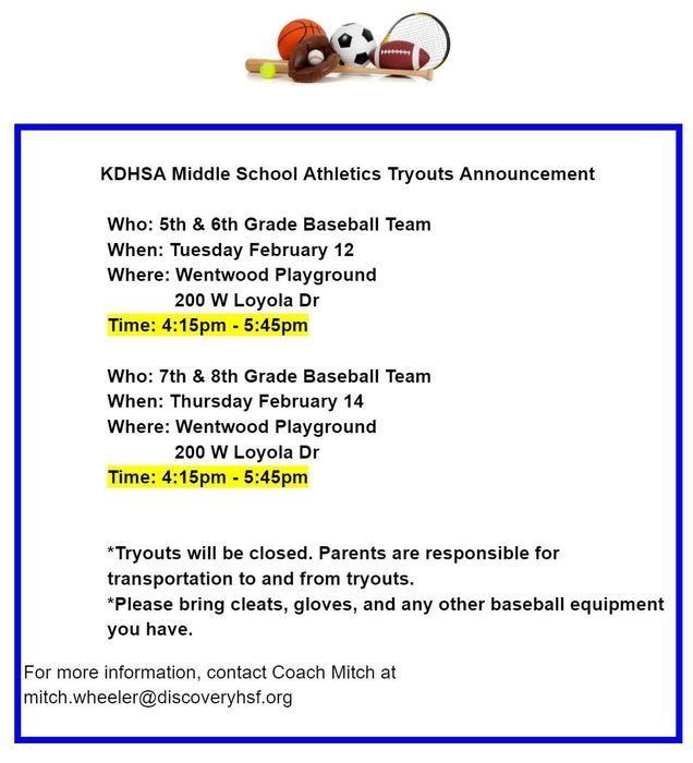 KDHSA Baseball Tryout Announcement 2019