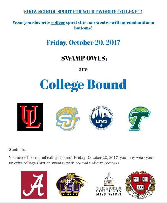 College Shirt Day - Friday, October 20, 2017