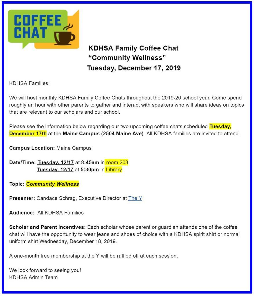 "KDHSA ""Community Wellness"" Parent Coffee Chat - Tuesday, 12/17/2019"