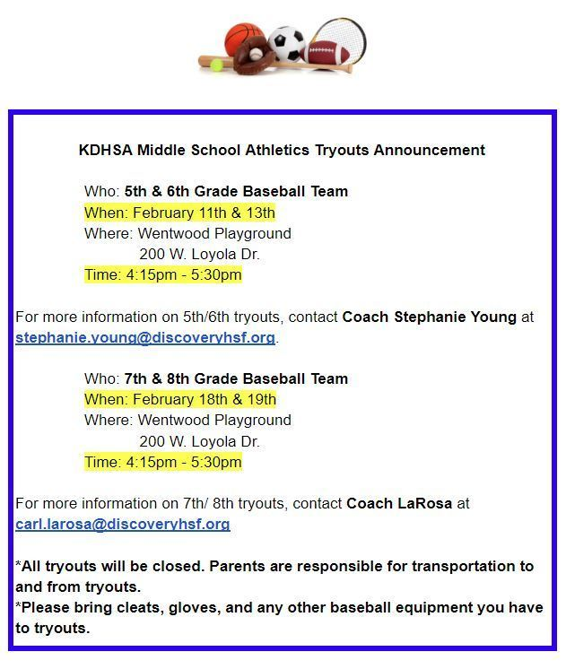 KDHSA Middle School Baseball Tryouts Announcement
