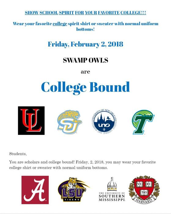 College Shirt Day Friday, 2/2/2018
