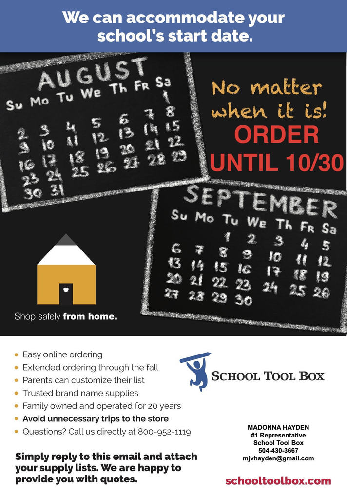 Online School Tool Box supply ordering has been extended. (optional)